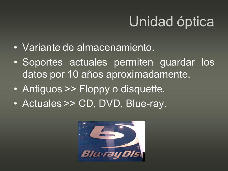 Unidad óptica Variante de almacenamiento.