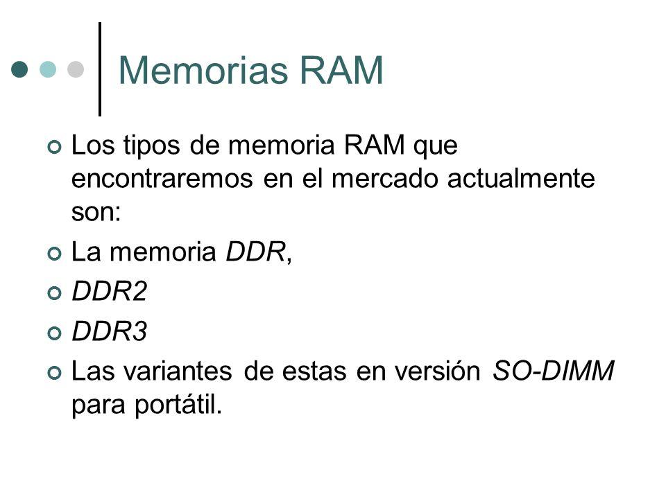 Memorias RAM Los tipos de memoria RAM que encontraremos en el mercado actualmente son: La memoria DDR,