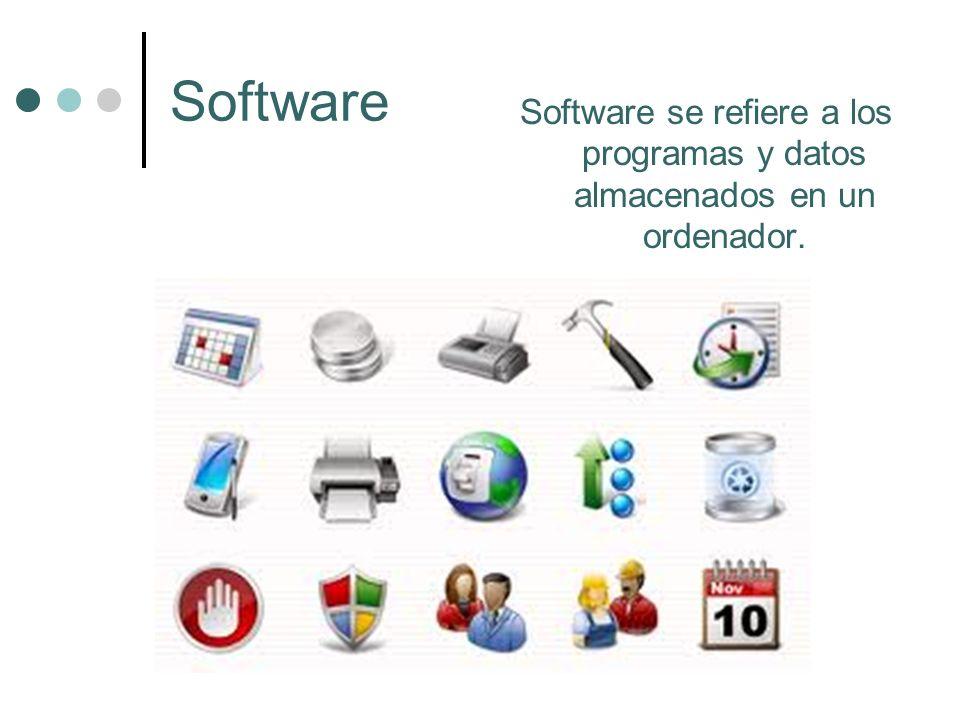 Software Software se refiere a los programas y datos almacenados en un ordenador.