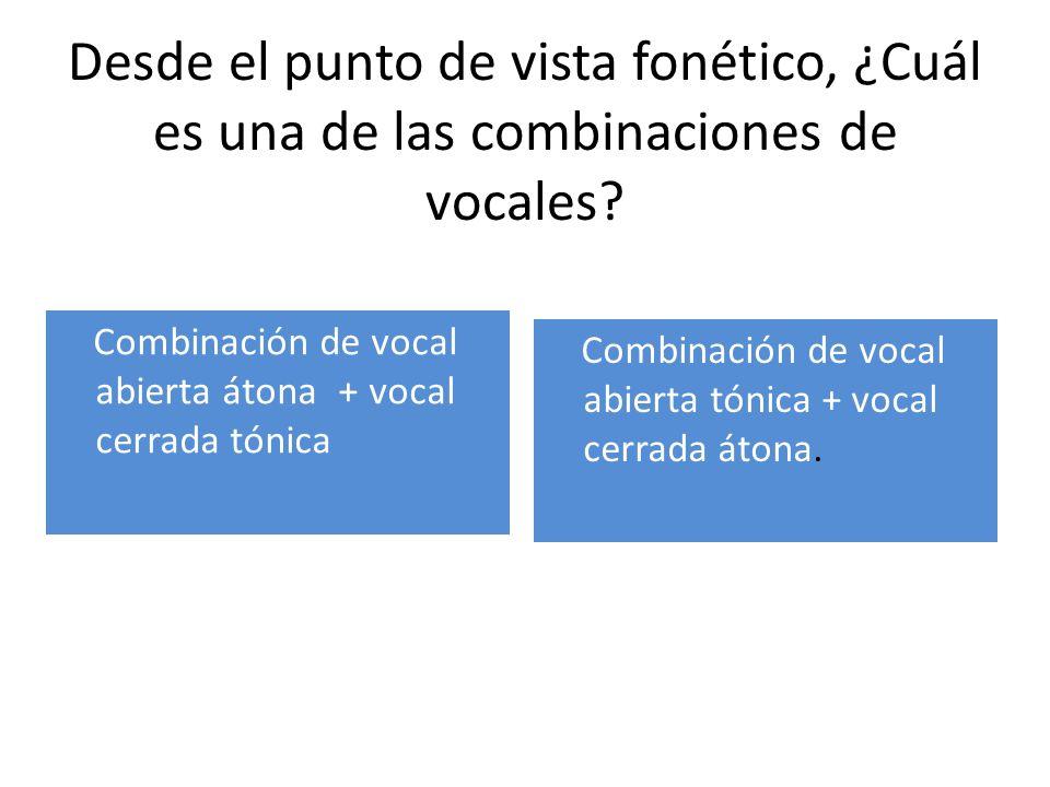 Desde el punto de vista fonético, ¿Cuál es una de las combinaciones de vocales