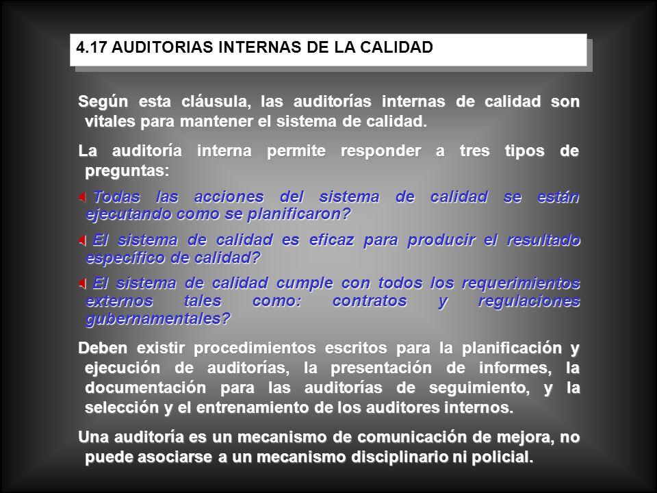 4.17 AUDITORIAS INTERNAS DE LA CALIDAD