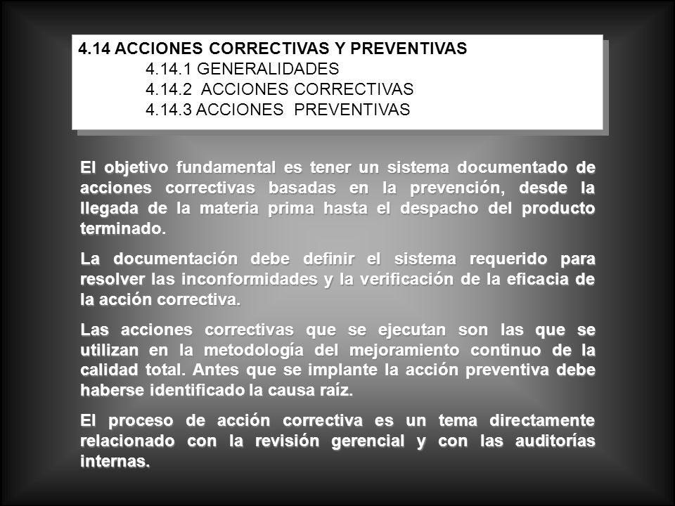 4.14 ACCIONES CORRECTIVAS Y PREVENTIVAS