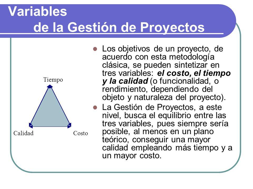 Variables de la Gestión de Proyectos