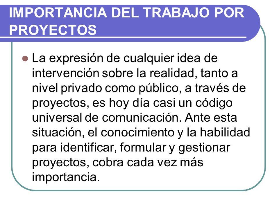 IMPORTANCIA DEL TRABAJO POR PROYECTOS