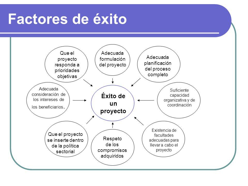 Factores de éxito Éxito de un proyecto