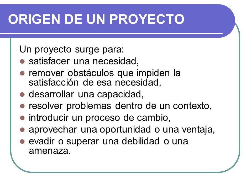 ORIGEN DE UN PROYECTO Un proyecto surge para: