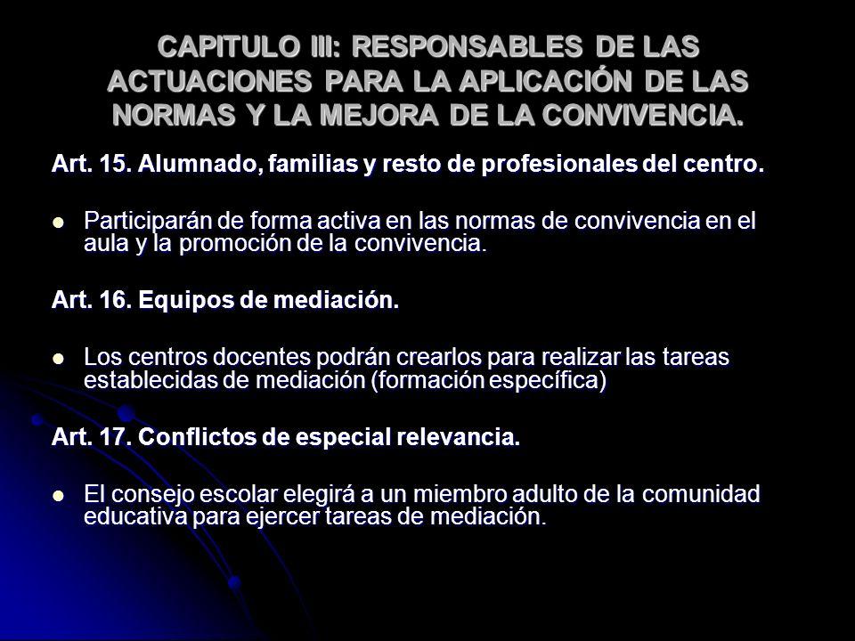 CAPITULO III: RESPONSABLES DE LAS ACTUACIONES PARA LA APLICACIÓN DE LAS NORMAS Y LA MEJORA DE LA CONVIVENCIA.