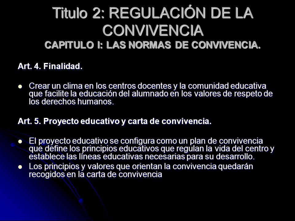 Titulo 2: REGULACIÓN DE LA CONVIVENCIA CAPITULO I: LAS NORMAS DE CONVIVENCIA.