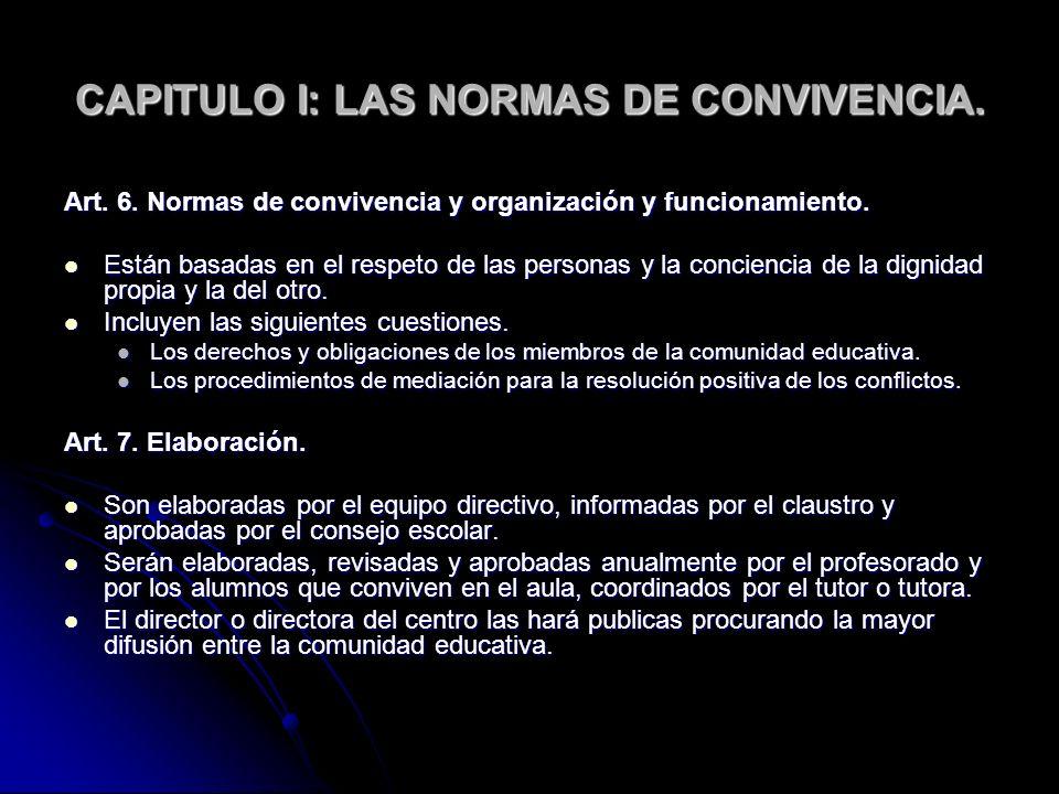 CAPITULO I: LAS NORMAS DE CONVIVENCIA.