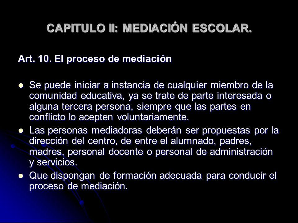 CAPITULO II: MEDIACIÓN ESCOLAR.