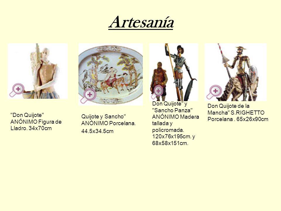 ArtesaníaDon Quijote y Sancho Panza ANÓNIMO Madera tallada y policromada. 120x76x195cm. y 68x58x151cm.