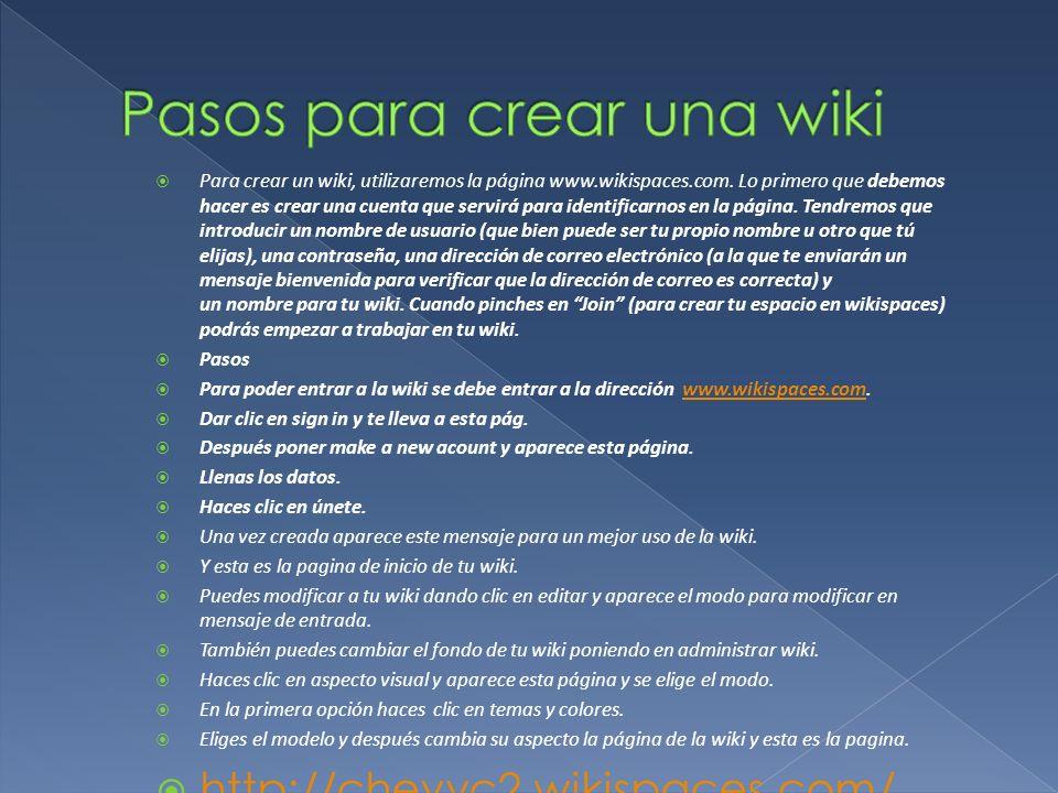 Pasos para crear una wiki