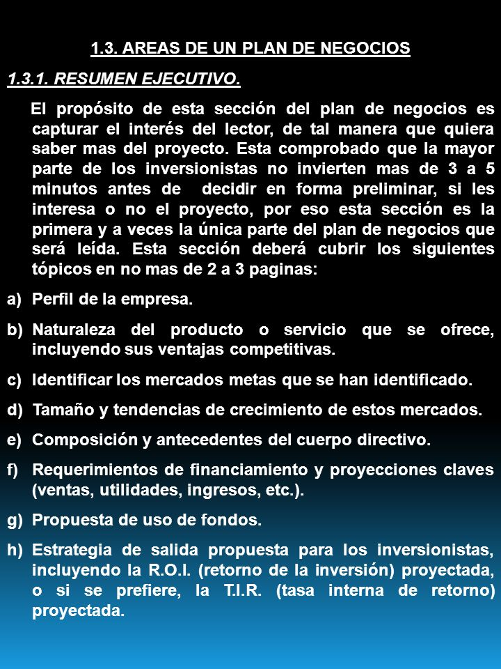 1.3. AREAS DE UN PLAN DE NEGOCIOS