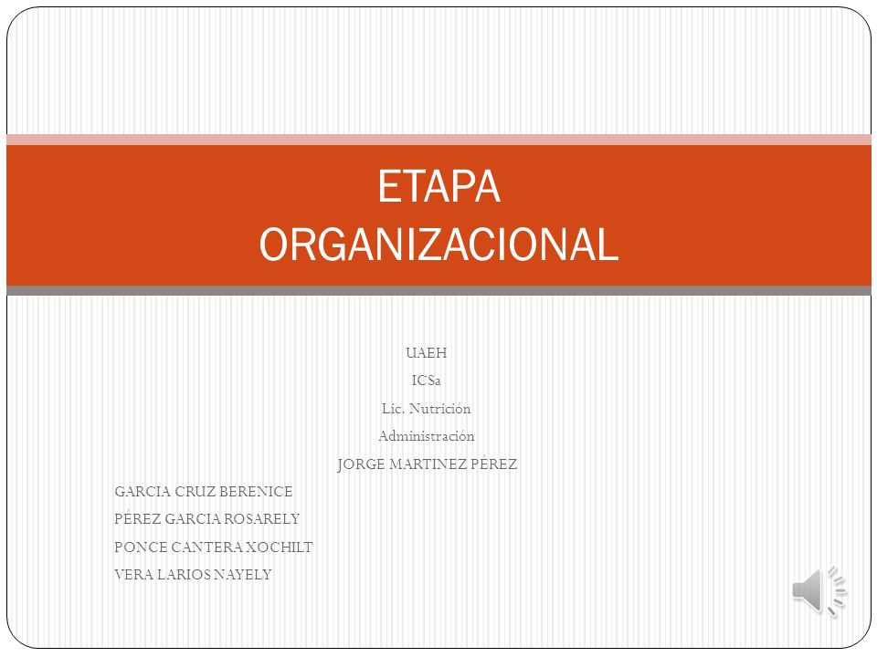 ETAPA ORGANIZACIONAL UAEH ICSa Lic. Nutrición Administración