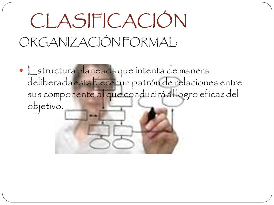 CLASIFICACIÓN ORGANIZACIÓN FORMAL: