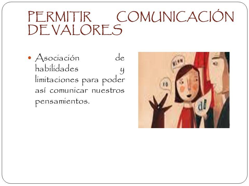 PERMITIR COMUNICACIÓN DE VALORES