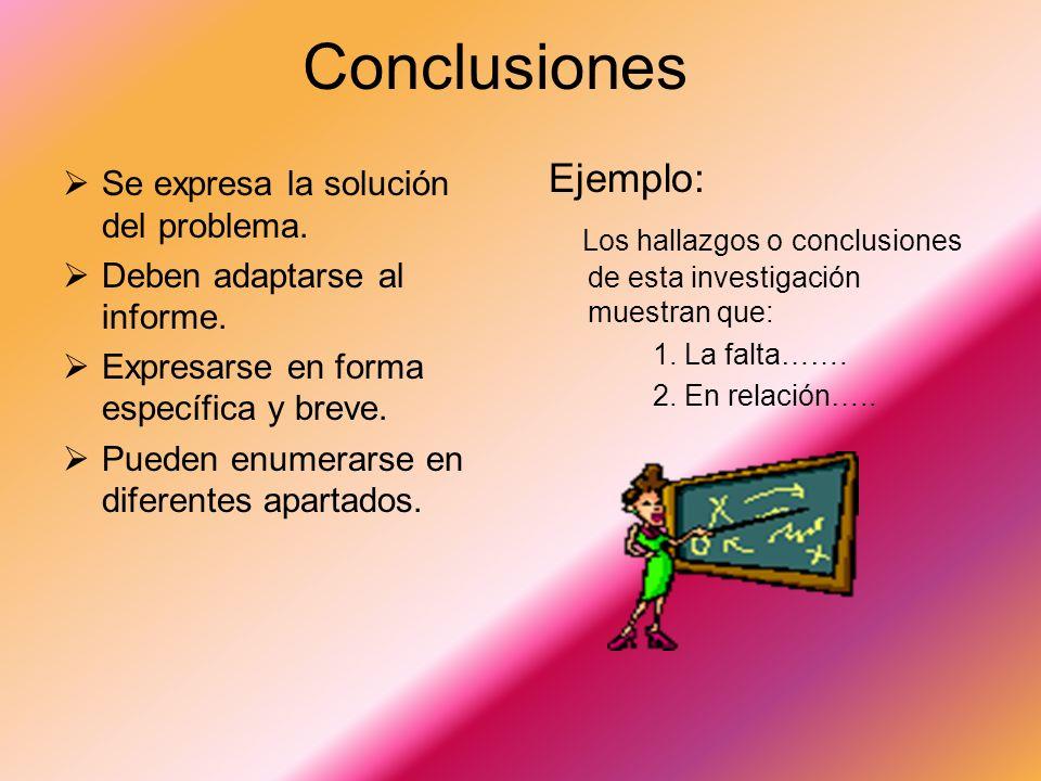 Conclusiones Ejemplo: