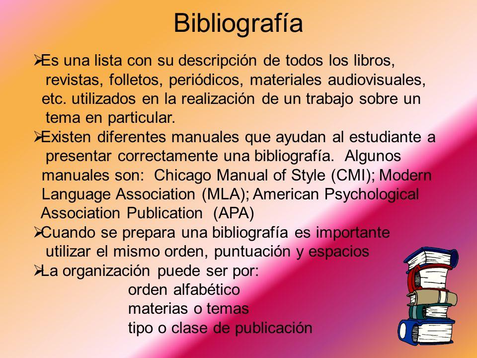 Bibliografía Es una lista con su descripción de todos los libros,