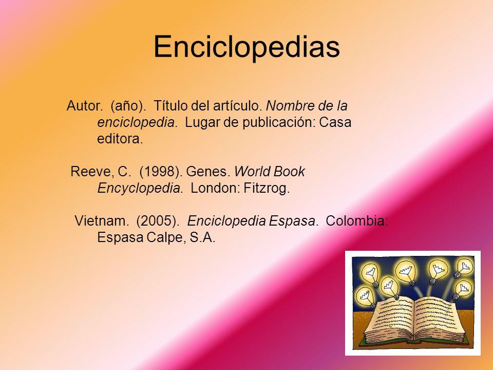 Enciclopedias Autor. (año). Título del artículo. Nombre de la