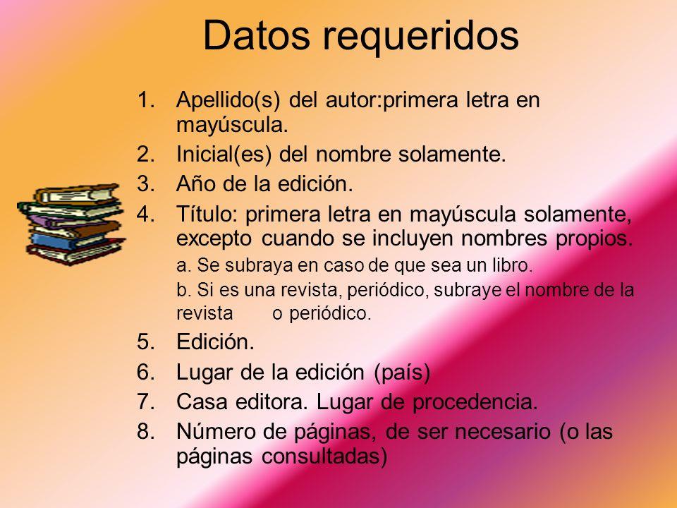 Datos requeridos Apellido(s) del autor:primera letra en mayúscula.
