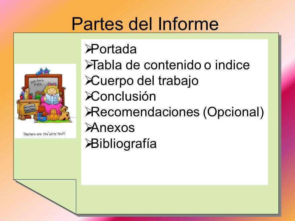 Partes del Informe Portada Tabla de contenido o indice