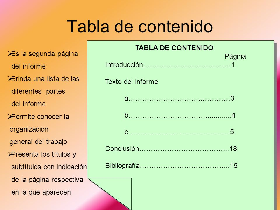 TABLA DE CONTENIDO Página