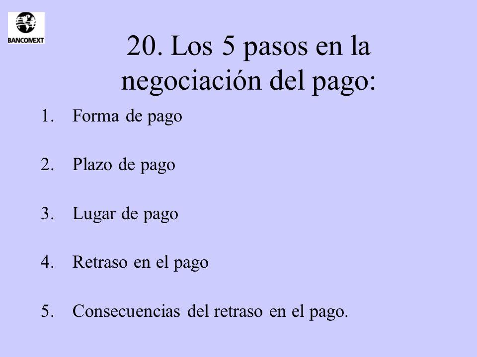 20. Los 5 pasos en la negociación del pago: