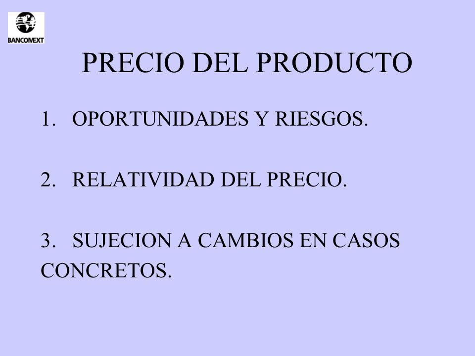 PRECIO DEL PRODUCTO OPORTUNIDADES Y RIESGOS. RELATIVIDAD DEL PRECIO.