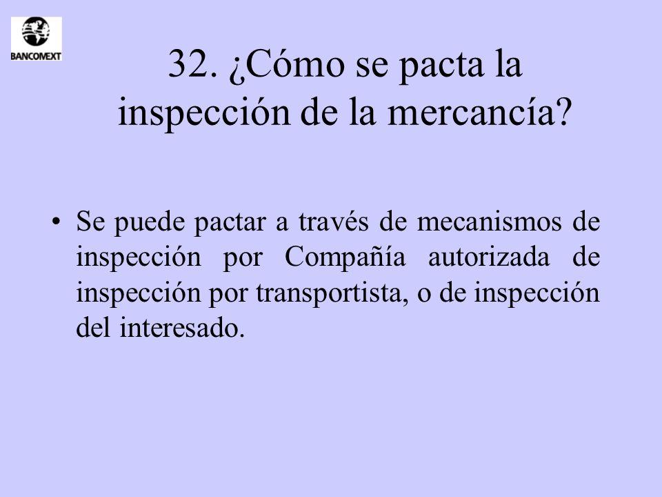 32. ¿Cómo se pacta la inspección de la mercancía