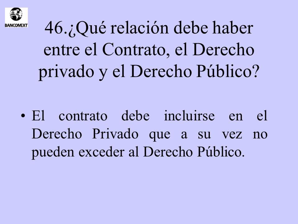 46.¿Qué relación debe haber entre el Contrato, el Derecho privado y el Derecho Público