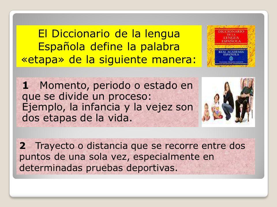 El Diccionario de la lengua Española define la palabra «etapa» de la siguiente manera: