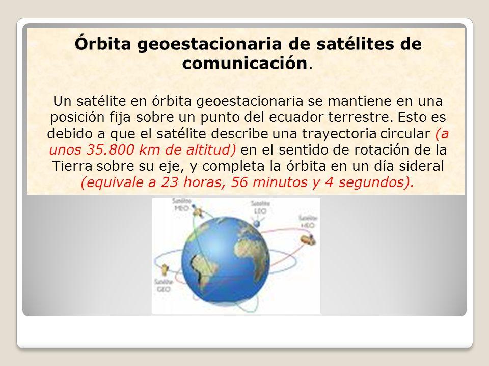 Órbita geoestacionaria de satélites de comunicación.