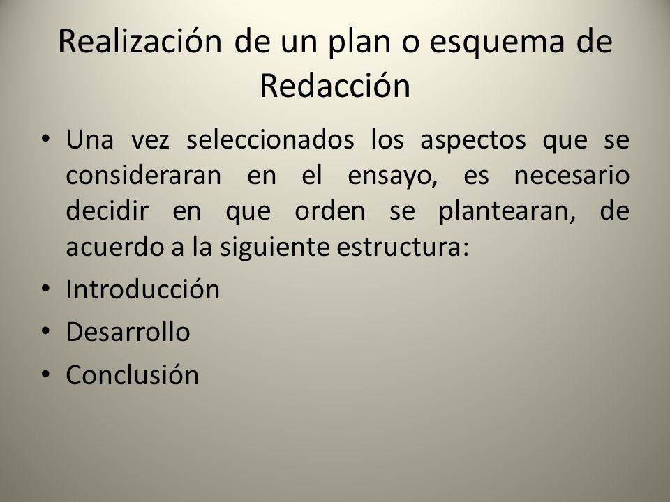 Realización de un plan o esquema de Redacción