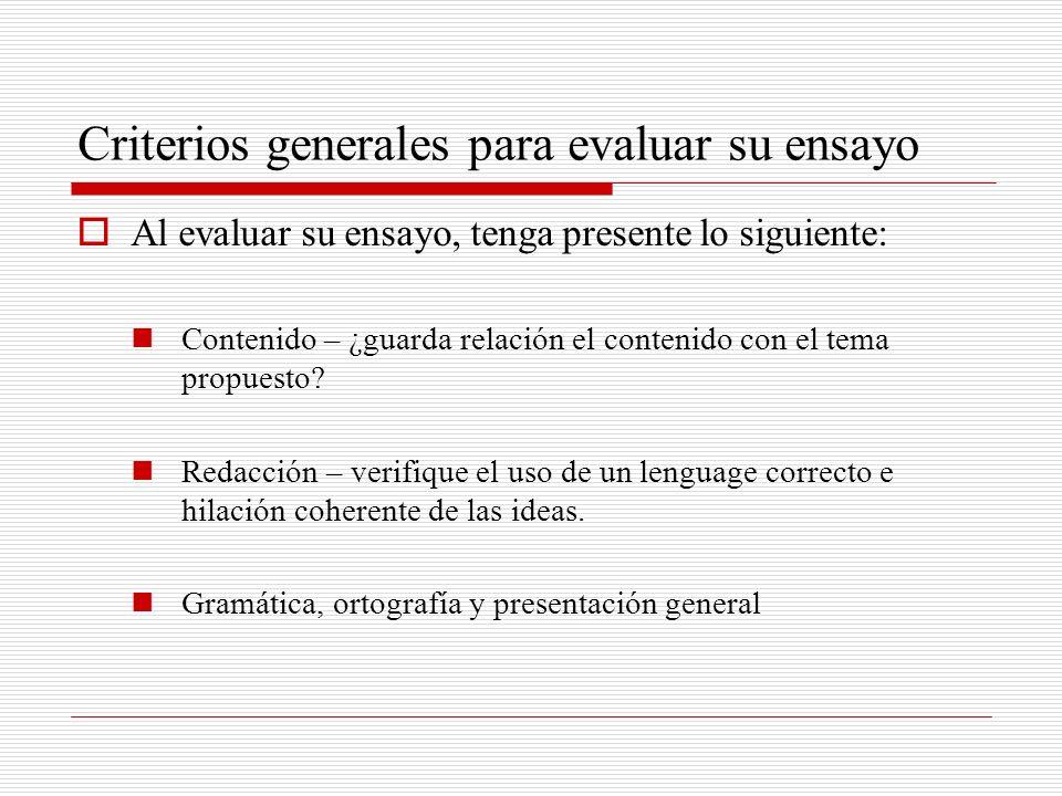 Criterios generales para evaluar su ensayo