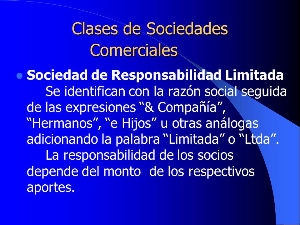 Clases de Sociedades Comerciales