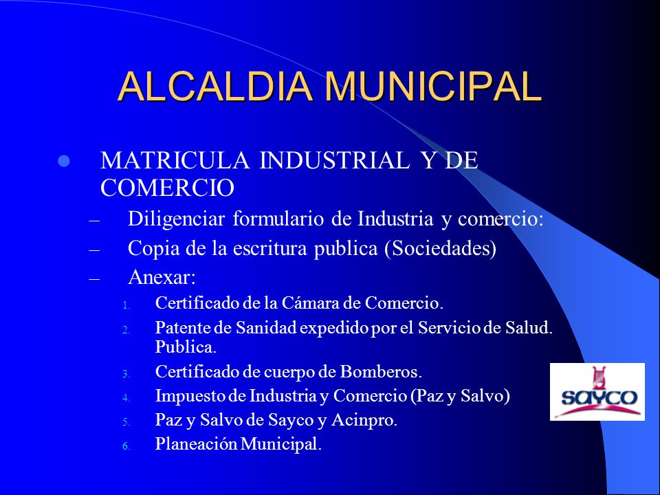 ALCALDIA MUNICIPAL MATRICULA INDUSTRIAL Y DE COMERCIO
