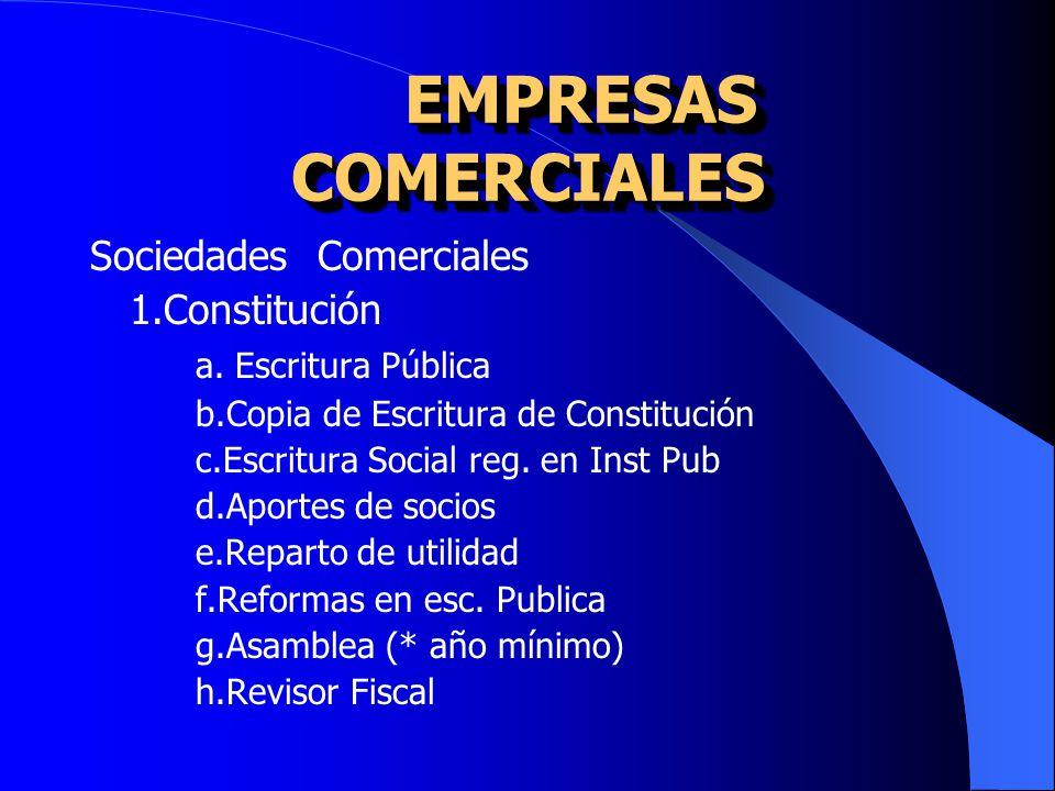 EMPRESAS COMERCIALES Sociedades Comerciales 1.Constitución