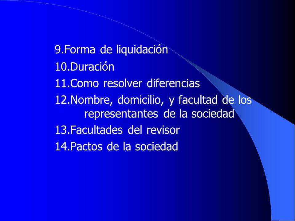 9.Forma de liquidación 10.Duración 11.Como resolver diferencias