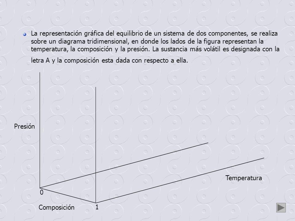 La representación gráfica del equilibrio de un sistema de dos componentes, se realiza sobre un diagrama tridimensional, en donde los lados de la figura representan la temperatura, la composición y la presión. La sustancia más volátil es designada con la letra A y la composición esta dada con respecto a ella.