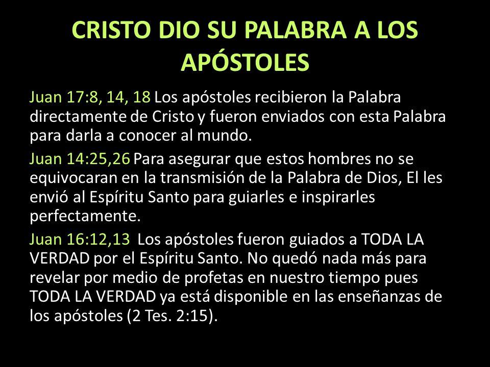 CRISTO DIO SU PALABRA A LOS APÓSTOLES