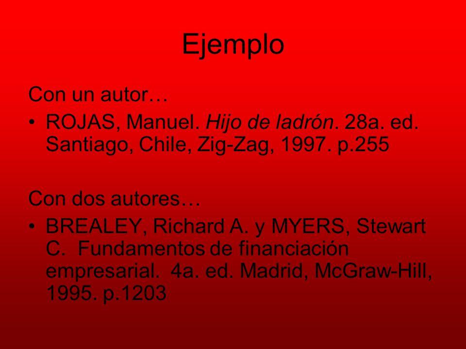 Ejemplo Con un autor… ROJAS, Manuel. Hijo de ladrón. 28a. ed. Santiago, Chile, Zig-Zag, 1997. p.255.