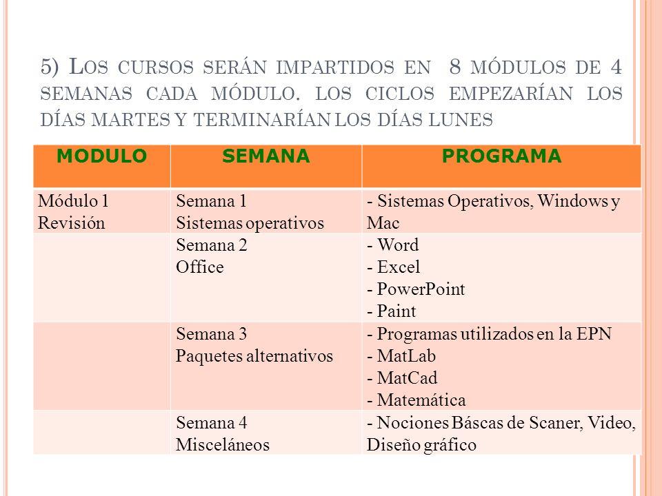 5) Los cursos serán impartidos en 8 módulos de 4 semanas cada módulo