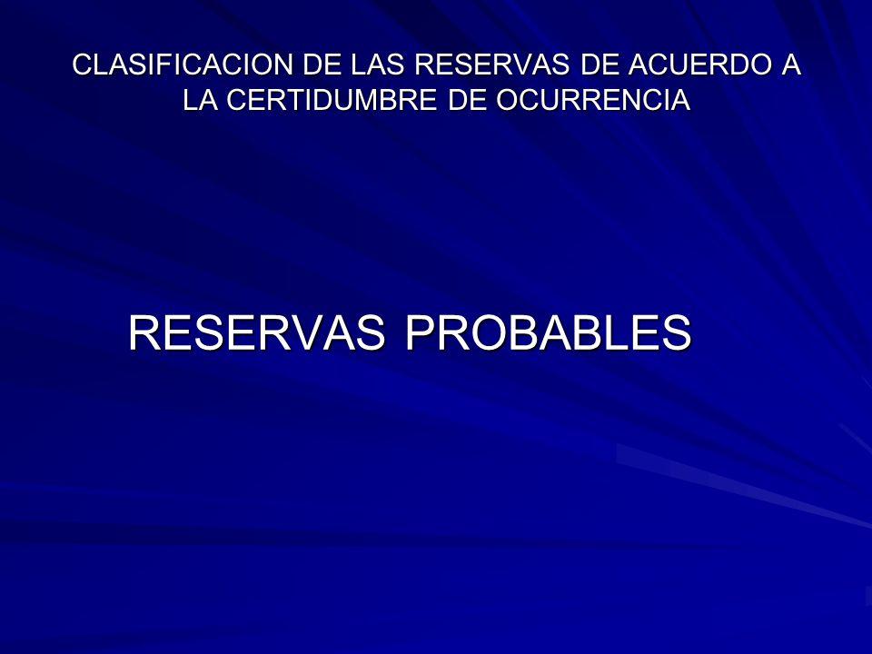 CLASIFICACION DE LAS RESERVAS DE ACUERDO A LA CERTIDUMBRE DE OCURRENCIA