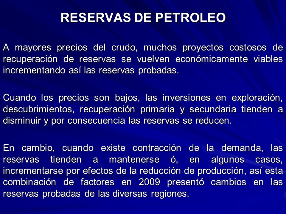 RESERVAS DE PETROLEO
