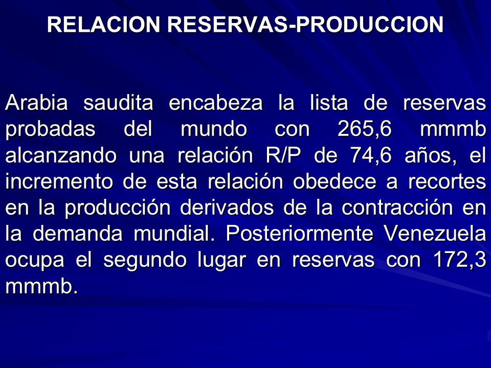 RELACION RESERVAS-PRODUCCION
