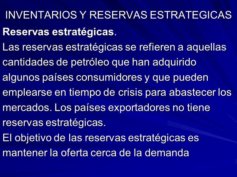 INVENTARIOS Y RESERVAS ESTRATEGICAS