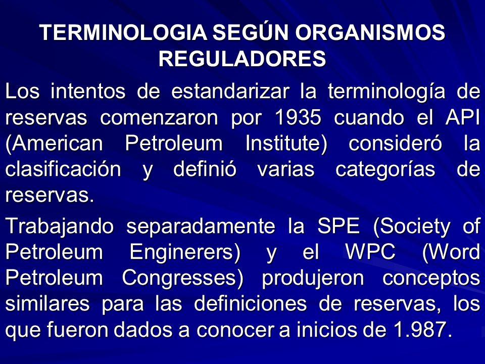 TERMINOLOGIA SEGÚN ORGANISMOS REGULADORES
