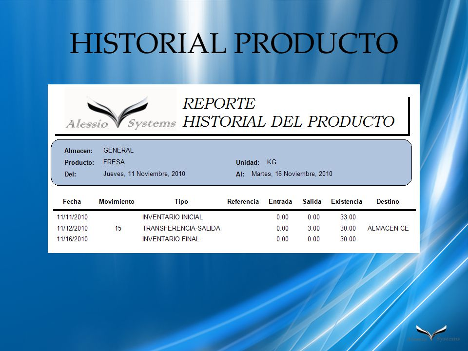 HISTORIAL PRODUCTO