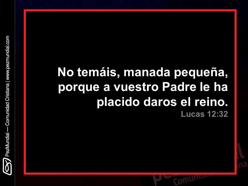No temáis, manada pequeña, porque a vuestro Padre le ha placido daros el reino. Lucas 12:32