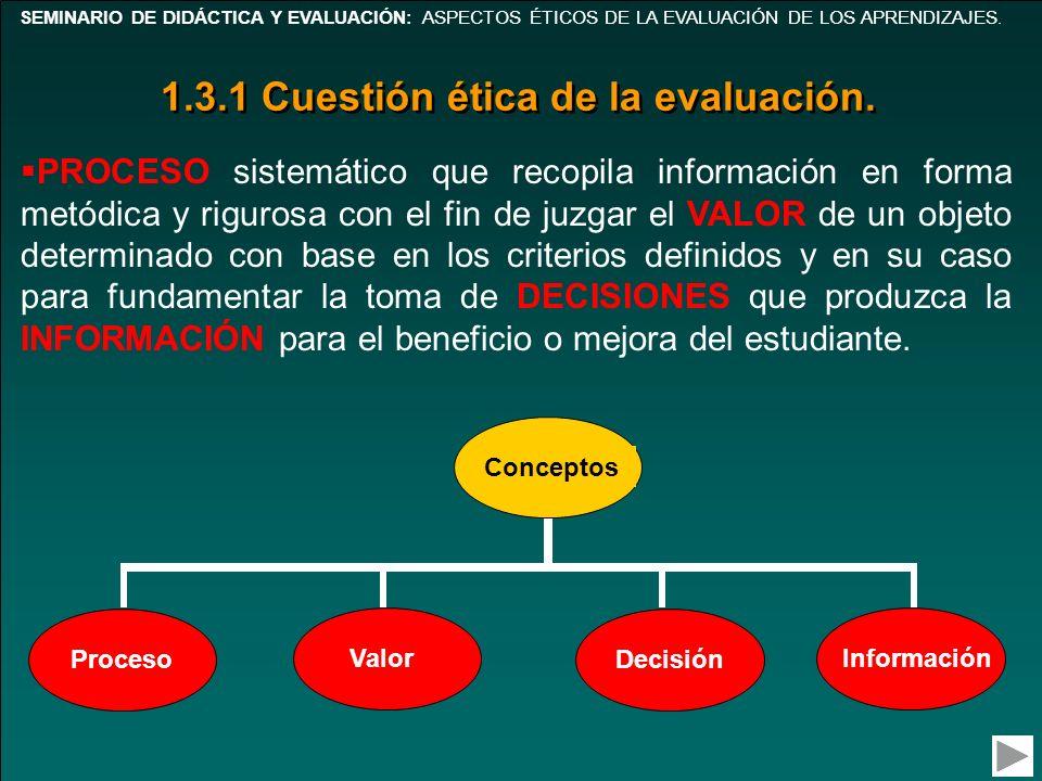 1.3.1 Cuestión ética de la evaluación.